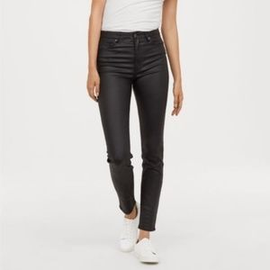 H&M black coated skinny jeans NWT